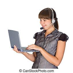 beautiful girl in headset