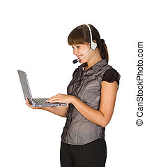beautiful girl in headset with lapto