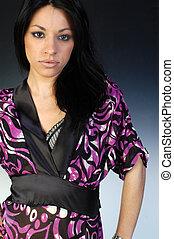 Beautiful Girl in Kimono purple