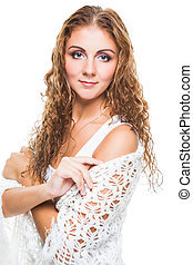 beautiful girl in knitted shawl on isolated white