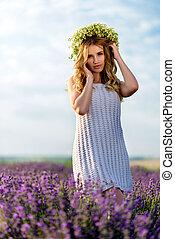 Beautiful Girl in lavender Field