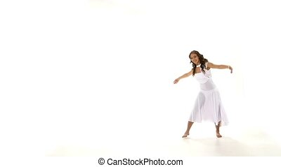 Beautiful girl in light dress dancing contemp jazz modern on white background, slow motion