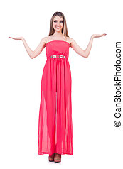 Beautiful girl in pink long dress isolated on white