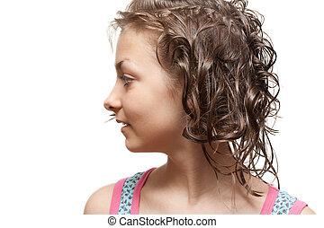 Beautiful girl in profile