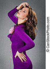 beautiful girl in purple dress
