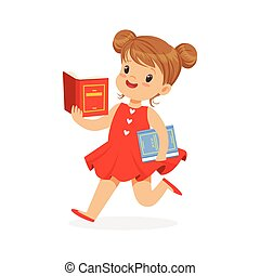 Beautiful girl in red dress running and reading a book, kid enjoying reading, colorful character vector Illustration