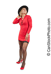 Beautiful girl in red dress, studio isolated
