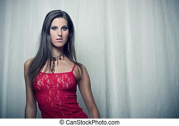 beautiful girl in red top
