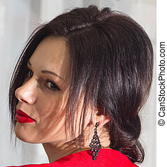 beautiful girl in red