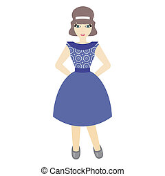beautiful girl in retro style dress