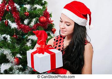 Beautiful girl in santa hat