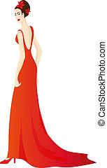 Beautiful girl in splendid evening red dress. Eps 10