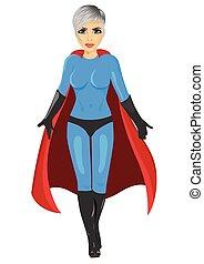 beautiful girl in superhero costume walking forward isolated...