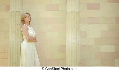 beautiful girl in the Arabic palace. tourism concept. white...