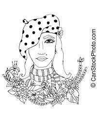 Beautiful girl in the colors of a series images girls from different parts world. Design for coloring book adults. Coloring page, zentangle style, hand drawn vector print. Black White.