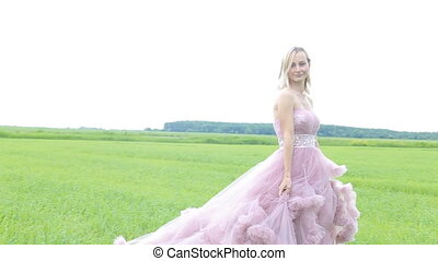 Beautiful girl in the dress walks in the field