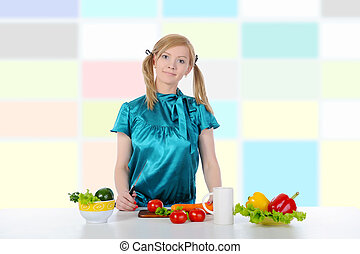 Beautiful girl in the kitchen