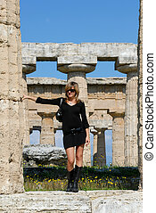 beautiful girl in the temples of Paestum