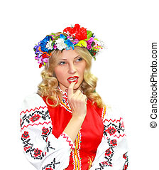 Beautiful girl in the Ukrainian national costume on a white background