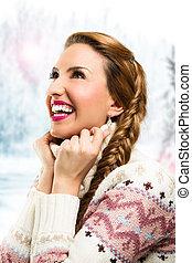 Beautiful girl in the winter