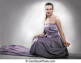 girl in violet dress