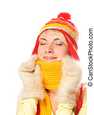Beautiful girl in winter clothing