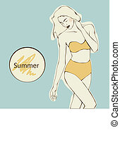 beautiful girl in yellow swimsuit