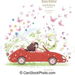 beautiful girl is driving car. the art floral red cabriolet with