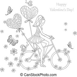 beautiful girl is riding on a bicycle for your coloring book. ha