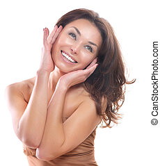 Beautiful Girl Isolated on a White Background. Perfect Skin