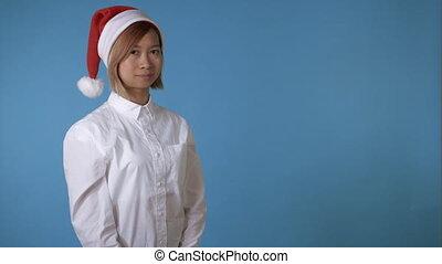 beautiful girl like santa greeting say hello - portrait...