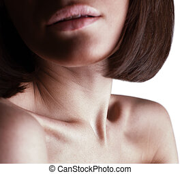 beautiful girl lips, neck and shoulders white background