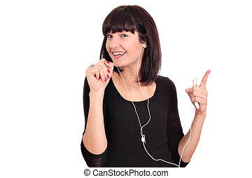 girl listening music on phone