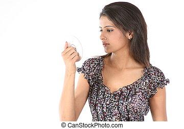 Beautiful girl looking the cd