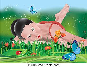 girl lying on field