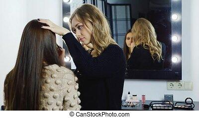 Beautiful girl makeup applied
