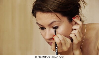 Beautiful girl makeup eyeliner