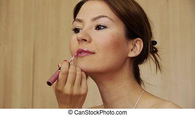 Beautiful girl makeup lipstick