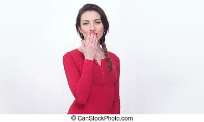 beautiful girl making air kiss