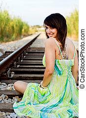 beautiful girl on a railway