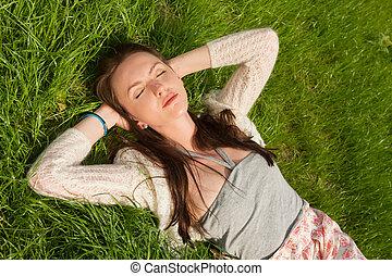beautiful girl on grass
