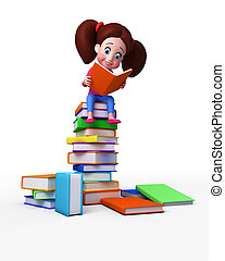 Girl On large books Stack