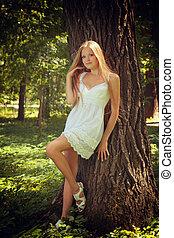Beautiful girl on nature