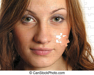 beautiful girl on puzzle picture, collage