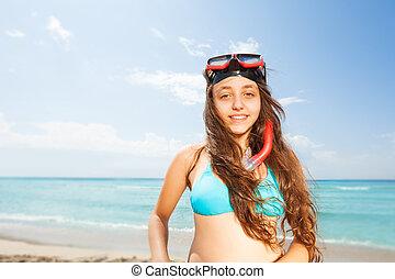 Beautiful girl on the beach portrait