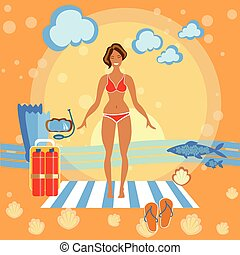Beautiful girl on the beach, sunbathe, towel, woman, summer, flippers, sports, diving, smile, swimming, skinny, happy holidays by the sea, vector illustration