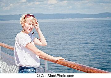 Beautiful girl on the deck
