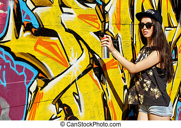 Beautiful girl on the street - Street, outdoor. Attractive...