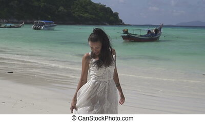 Beautiful girl on tropical island