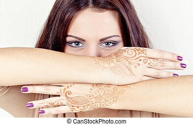 Beautiful girl painted Mehandi - Girl with hands painted...